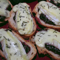 Crostini With Fig Spread & Bubbled Brie