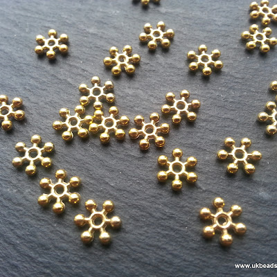 Snowflake Spacers Gold Tone 8mm x50