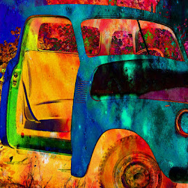 Colors Of The Past by Beth Schneckenburger - Digital Art Things ( car, old, color, abandoned )