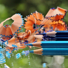 Sharpened beauties.. by Anoop Namboothiri - Artistic Objects Other Objects ( reflection, glass top, sharpened, color, blue, dust, anoop namboothiri, wooden shavings, duo.flower like, pencils, pencil, object,  )