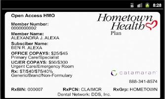 Screenshot of Hometown Health eCard