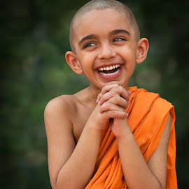 Happy Little Monk by Nayyer Reza - Babies & Children Child Portraits ( pakistan, laugh, color, children, happiness, nayyer, reza )