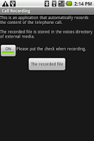 Screenshot of Call Recording for Android 1.6