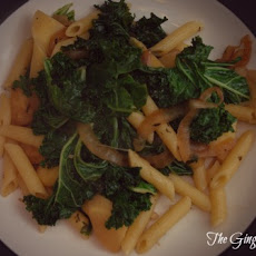 Penne with Caramelized Onions, Parsnips and Kale