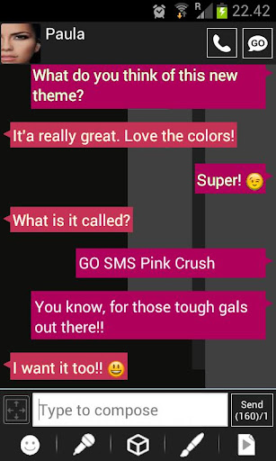 GO SMS Windows 8 Pink