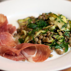 Dinner Tonight: Lentil Salad with Grilled Zucchini and Prosciutto