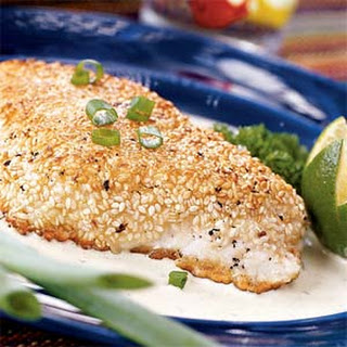 Sesame-crusted Halibut with Poblano Cream Sauce