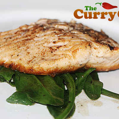 Pan Seared Spiced Wild Sea Trout With Sea Spinach