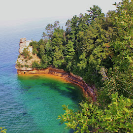 Pictured Rocks by Tina Stevens - Landscapes Travel ( water, superior, munising, cliff, sandstone, lake, rock, forest, michigan, upper, overlook, outcrop, nature, bay, trees, inlet, rocks, peninsula,  )