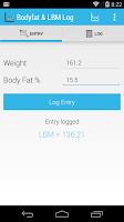 Screenshot of Body fat and LBM log