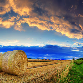 Hungarian skies pt.189. by Zsolt Zsigmond - Landscapes Prairies, Meadows & Fields ( clouds, sky, sunset, hay, panorama )