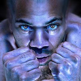Fight by Irvin Kelly - Digital Art People ( hands, blue, men, portrait, eyes )