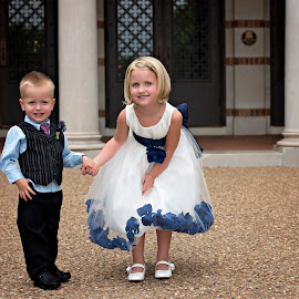 Cousins by Carole Brown - Wedding Other ( little girl, blonde hair, little boy, vest and pants, white dress, blue eyes )