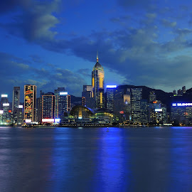 Hong Kong Magic Hour by Leka Huie - City,  Street & Park  Skylines ( hong kong, magic hour, , Urban, City, Lifestyle )