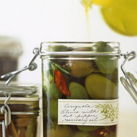 Cerignola Olives with Hot Pepper and Rosemary Oil