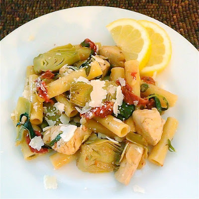 Ziti with Chicken, Baby Artichokes & Sun Dried Tomatoes
