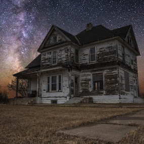 What Once Was by Aaron Groen - Buildings & Architecture Homes ( scary, sky, dark places, stars, night, haunted, house, a series of dark places, milky way, abandoned )