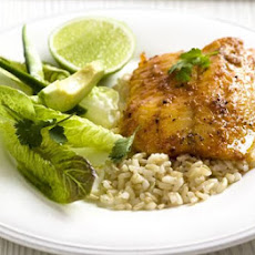 Red Spiced Fish With Green Salad