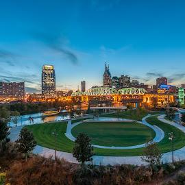 Downtown Nashville by Devin Williams - City,  Street & Park  Skylines ( tn, skyline, riverfront, nashville, city )