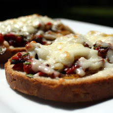 Roasted Red Pepper and Caramelized Onion Melts with Bacon and Asiago Cheese