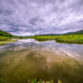 Constitution Marsh Looking South by Sergio Smiriglio - Landscapes Cloud Formations ( cloudy sky, reflection, west point, hudson valley, sergio smiriglio, sony a7, hudson river, cold spring, constitution marsh )
