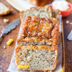 Browned Butter Glaze Soaked-Greek Yogurt Banana Cake