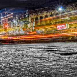 Rush by Manas Banerjee - City,  Street & Park  Street Scenes ( photograph, hdr, kolkata, street, busy, road, photography, night shots, red, night photography, bulb, light trails, india, night, nikon, light, nightscapes )