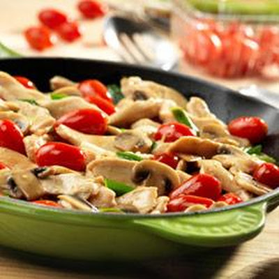 Chicken with Grape Tomatoes and Mushrooms