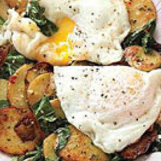 Potatoes with Dandelion Greens and Fried Eggs