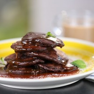 Double Chocolate Pancakes with Salted Caramel Syrup