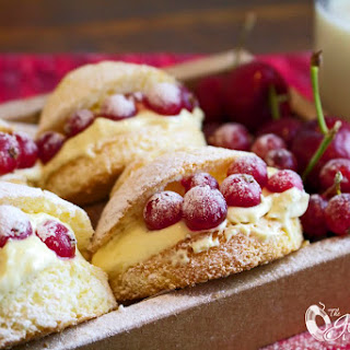 Gluten-Free Vanilla Cream Puffs filled with Custard Cream and Red Currants