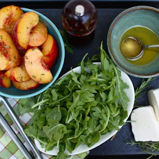 Grilled Peach & Haloumi Salad with Arugula