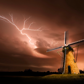 Sky Crawler by Craig Eccles - Landscapes Weather ( thunder, lightning storm, lightning, lightning bolt, cloud, thunder storm, thunder bolt, lightning strike., storm, landscape, windmill )
