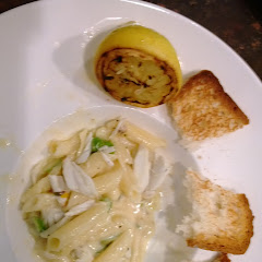 Zocca's Gluten Free Pasta, Lump Crab, grilled lemon, shaved asparagus in Parmesan Cream Sauce with g