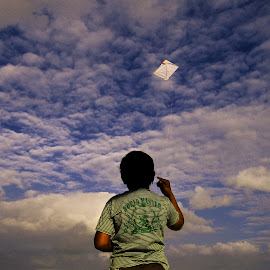 Kite by Rajib Biswal - Novices Only Objects & Still Life ( rajib biswal, blue sky, fly, still life, kite, childhood days, baby, uttarayan )