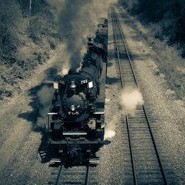 765 Steam Locomotive by Cathy Cooley - Transportation Trains ( sepia, engine, train, transportation, steam, land, device )