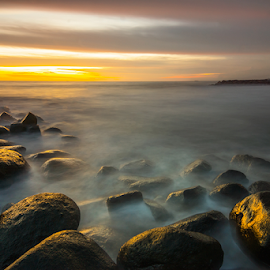 Twilight at Taplau by Ade Noverzan - Landscapes Waterscapes ( sunset, beach, stones, dusk )