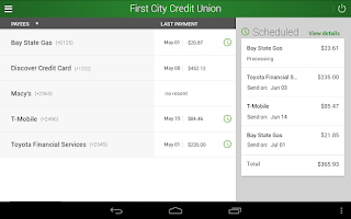 Screenshot of First City Credit Union Mobile