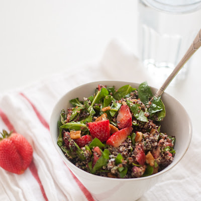 Strawberry, Quinoa and Chopped Spinach Salad
