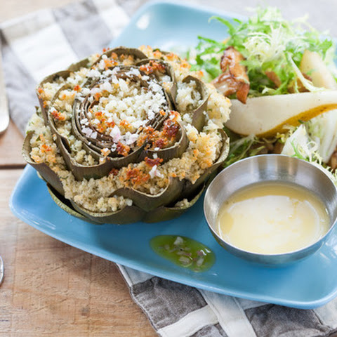 Stuffed Artichokes with Maitake & Chanterelle Mushroom Salad