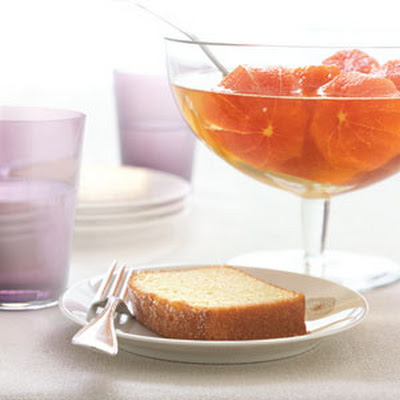 Boozy Clementines with Pound Cake