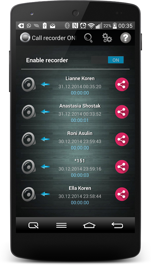 Call Recorder One Touch Full Screenshot 0
