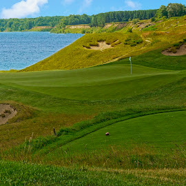 On the Shore Of Lk. Michigan, Wis. by Sandy Friedkin - Sports & Fitness Golf ( lake michigan, sport, golf couse, sheep, sndtraps, caddies,  )