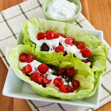Ground Beef Gyro Meatball Lettuce Wraps with Tzatziki and Tomatoes
