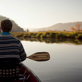 Morning Paddle by Jamie Cooper - Sports & Fitness Watersports ( water, canon, camp, canoe, sunrise, waterdrops, man, paddle )