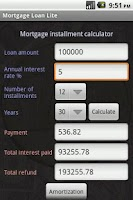 Screenshot of Mortgage Loan Lite