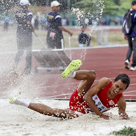 Landing by Haryo Suryo - Sports & Fitness Other Sports ( sand, athletics, jumping, sports, long jump, athlete )