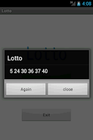Screenshot of simple lotto numbers