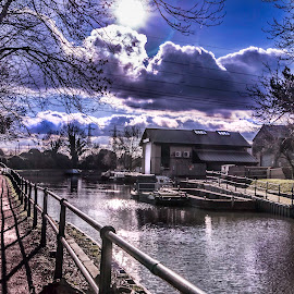 Enfield Lock by Laura Prieto - City,  Street & Park  City Parks ( clouds, river lea, parks, trees, lines, middlesex, river )