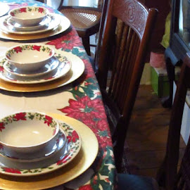 Christmas Table by Titus Belgard - Artistic Objects Cups, Plates & Utensils ( chair, december, red, plates, tablecloth, louisiana, indoors, table, bowls )